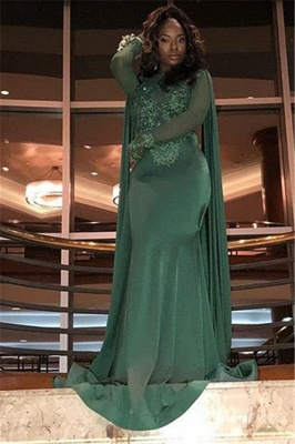 Gorgeous Round Neck Long Sleeves Appliques Sexy Trumpet/Mermaid Online Prom Dress Sale | Suzhoudress UK_5