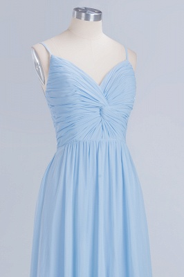 A-Line Chiffon Womens V-Neck Thin Straps Floor-Length Bridesmaid Dresses | Suzhoudress UK_5