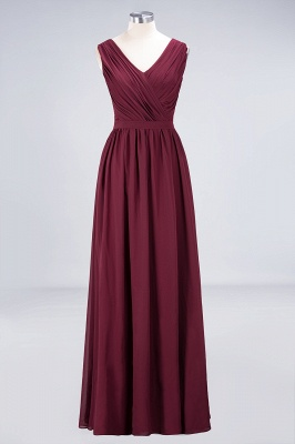 A-line Chiffon Simple Lace V-Neck Summer Floor-Length Bridesmaid Dress UK with Ruffles_1
