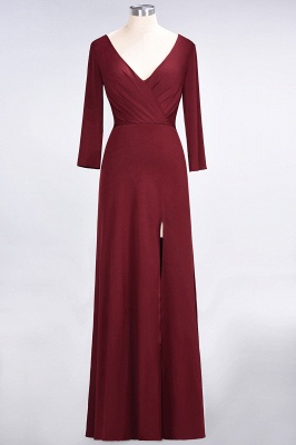 Cheap A-line Spandex V-Neck Long-Sleeves Side-Slit Floor-Length Bridesmaid Dress UK with Ruffles_31