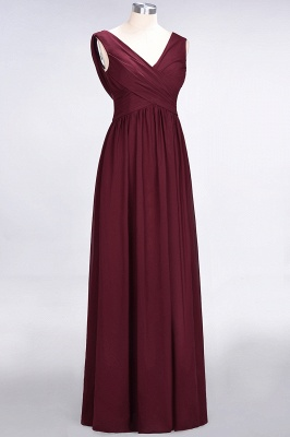 A-line Chiffon Straps V-Neck Summer Floor-Length Bridesmaid Dress UK with Ruffles_3