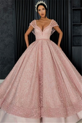Beading V-Neck Cap-Sleeves Prom Dress UK_1