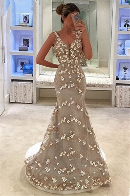 Mermaid Fit and Flare Appliques Summer Straps V-Neck Long Prom Dress UK_1