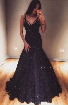 Unique Mermaid Fit and Flare Spaghetti-Straps Summer Long Prom Dress UK_1