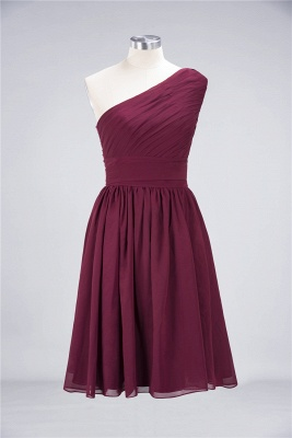 A-line Chiffon One-Shoulder Summer Knee-Length Bridesmaid Dress UK with Ruffles_2