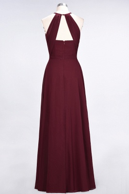A-line Chiffon Jewel Summer Floor-Length Bridesmaid Dress UK with Ruffles_2