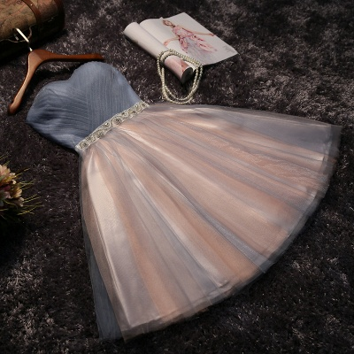 Shiny  A-line Simple Lace Strapless Summer Prom Dress UK with Bow_4