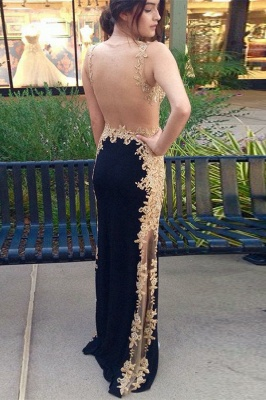 Gorgeous Black Straps Teenage Appliques Best Fit Column Online Prom Dress Sale | Suzhoudress UK_2