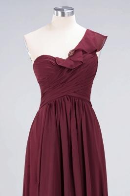 A-line Chiffon One-Shoulder Sweetheart Summer Floor-Length Bridesmaid Dress UK with Ruffles_4