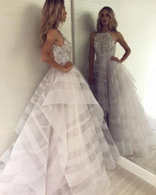 A-line Appliques Halter Summer Long Length Prom Dress UK_3