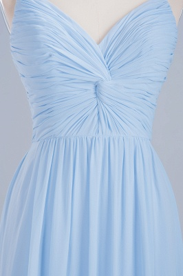 A-Line Chiffon Womens V-Neck Thin Straps Floor-Length Bridesmaid Dresses | Suzhoudress UK_7