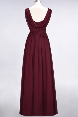 A-line Chiffon Straps V-Neck Summer Floor-Length Bridesmaid Dress UK with Ruffles_2