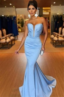 Mermaid Fit and Flare V-Neck Summer Strapless Long Prom Dress UK_1