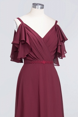 A-line Chiffon V-Neck Straps Summer Ruffles Floor-Length Bridesmaid Dress UK with Pearls_5