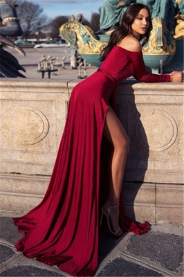 Charming Off-the-Shoulder Womens V-Neck Long Sleeves Front Slipt Online Prom Dress Sale | Suzhoudress UK_2