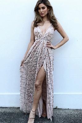 Fashion Thin Straps Womens Plunge V-Neck Teenage Front Slipt Online Prom Dress Sale | Suzhoudress UK_1