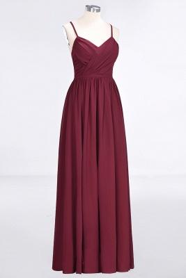 A-line Chiffon Spaghetti-Straps V-Neck Summer Floor-Length Bridesmaid Dress UK with Ruffles_3