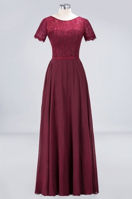 A-line Chiffon Simple Lace Round-Neck Short-Sleeves Floor-Length Bridesmaid Dress UK_1
