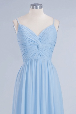 A-Line Chiffon Womens V-Neck Thin Straps Floor-Length Bridesmaid Dresses | Suzhoudress UK_4