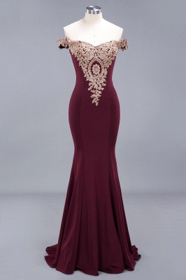 Charming Off-The-Shoulder Floor-Length Mermaid Fit and Flare Appliques Zipper Prom Dress UK_2