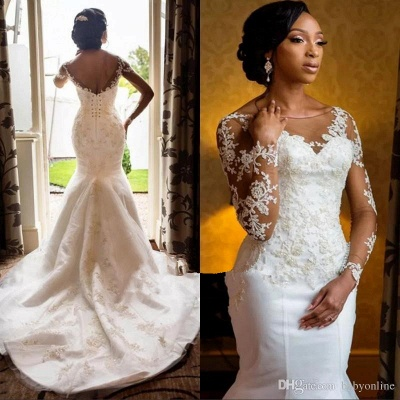 Gorgeous Jewe Lace Mermaid White Wedding Dresses Long Sleeves Appliques Bridal Gowns Online_1