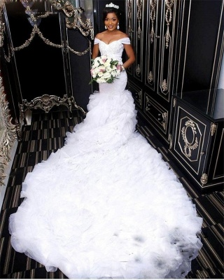 Alluring Mermaid Ruffles Wedding Dresses Off-the-Shoulder Lace Bridal Gowns Online_1