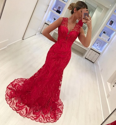Mermaid Fit and Flare Appliques Straps Summer V-Neck Long Prom Dress UK_4