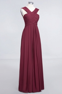 A-line Chiffon V-Neck Straps Summer Floor-Length Bridesmaid Dress UK with Ruffles_3