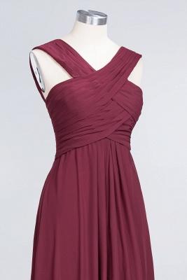 A-line Chiffon V-Neck Straps Summer Floor-Length Bridesmaid Dress UK with Ruffles_5