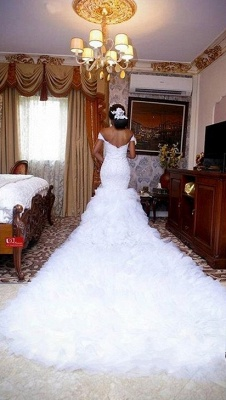 Alluring Mermaid Ruffles Wedding Dresses Off-the-Shoulder Lace Bridal Gowns Online_2