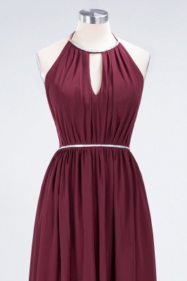 A-line Chiffon Halter Summer Floor-Length Bridesmaid Dress UK with Beading Sash_4