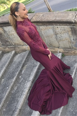 Unique Style Long Sleeves High Neck Sexy Trumpet/Mermaid Online Prom Dress Sale   Suzhoudress UK_2