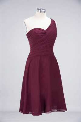A-line Chiffon One-Shoulder Sweetheart Summer Knee-Length Bridesmaid Dress UK with Ruffles_37