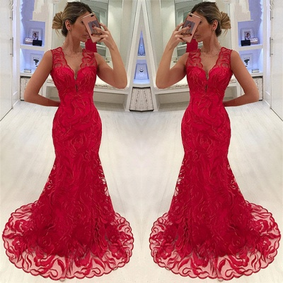 Mermaid Fit and Flare Appliques Straps Summer V-Neck Long Prom Dress UK_3