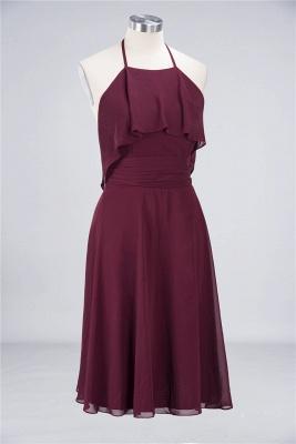 A-line Chiffon Halter Summer Knee-Length Bridesmaid Dress UK with Ruffles_3