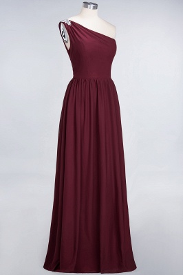 A-line Chiffon One-Shoulder Summer Ruffles Floor-Length Bridesmaid Dress UK with Beadings_4