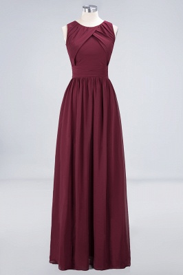 A-line Chiffon Round-Neck Summer Floor-Length Bridesmaid Dress UK with Ruffles_1