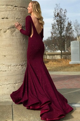 Gorgeous Round Neck Long Sleeves Backless Online Prom Dress Sale | Suzhoudress UK_2