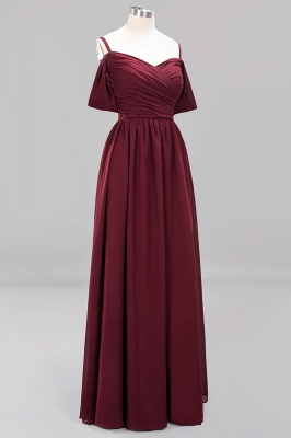 A-Line Chiffon Womens V-Neck Thin Straps Short-Sleeves Floor-Length Bridesmaid Dresses with Ruffles | Suzhoudress UK_10