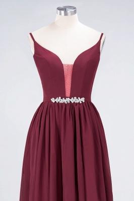 A-line Chiffon Appliques Spaghetti-Straps Deep-V-Neck Summer Floor-Length Bridesmaid Dress UK with Ruffles_4