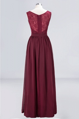 A-line Chiffon Simple Lace V-Neck Summer Floor-Length Bridesmaid Dress UK with Ruffles_2