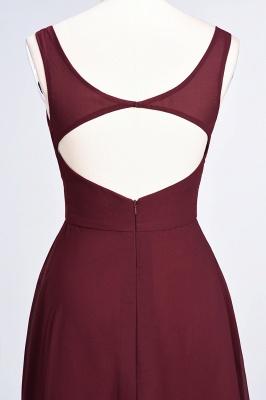 A-line Chiffon V-Neck Straps Summer Ruffles Floor-Length Bridesmaid Dress UK with Open Back_7
