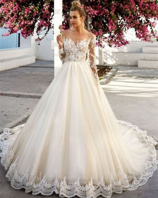 Off-the-Shoulder A-Line Long Sleeves Appliques Wedding Dress | Bridal Gowns On Sale_3