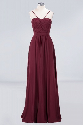 A-line Chiffon Sweetheart Spaghetti-Straps Backless Floor-Length Bridesmaid Dress UK with Ruffles_1