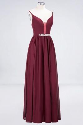 A-line Chiffon Appliques Spaghetti-Straps Deep-V-Neck Summer Floor-Length Bridesmaid Dress UK with Ruffles_3