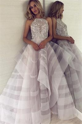A-line Appliques Halter Summer Long Length Prom Dress UK_1