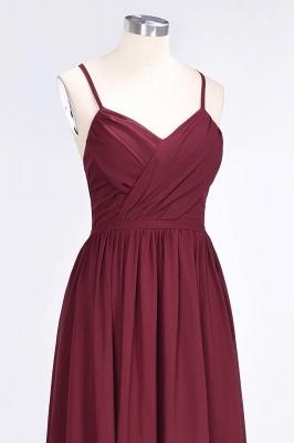 A-line Chiffon Spaghetti-Straps V-Neck Summer Floor-Length Bridesmaid Dress UK with Ruffles_5