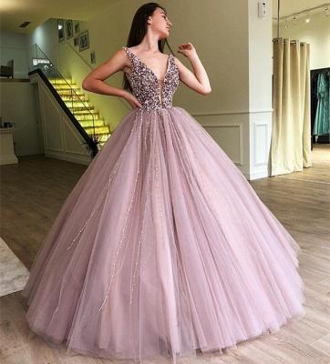 Tulle Beading Deep-V-Neck Straps Summer Prom Dress UK_4