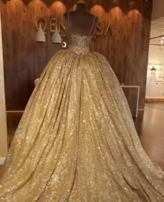 Luxurious Spaghetti Straps SleevelssBall Gown Crystals Prom Dress UKes UK_3