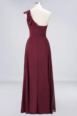 A-line Chiffon One-Shoulder Sweetheart Summer Floor-Length Bridesmaid Dress UK with Ruffles_2